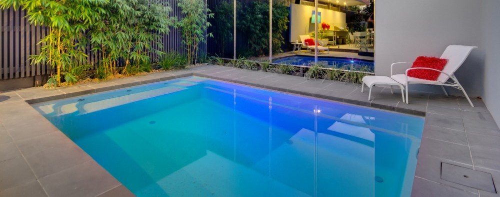 A small courtyard design with inground plunge pool
