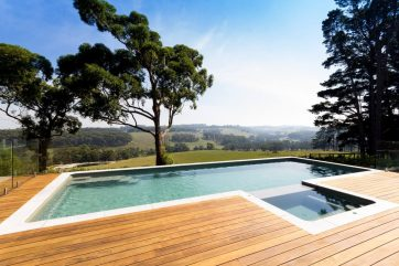 Another view of the fibreglass above ground pool and spa