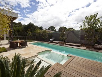 Compass Pools Australia Backyard pool design ideas Fastlane lap pool iwth spa attached