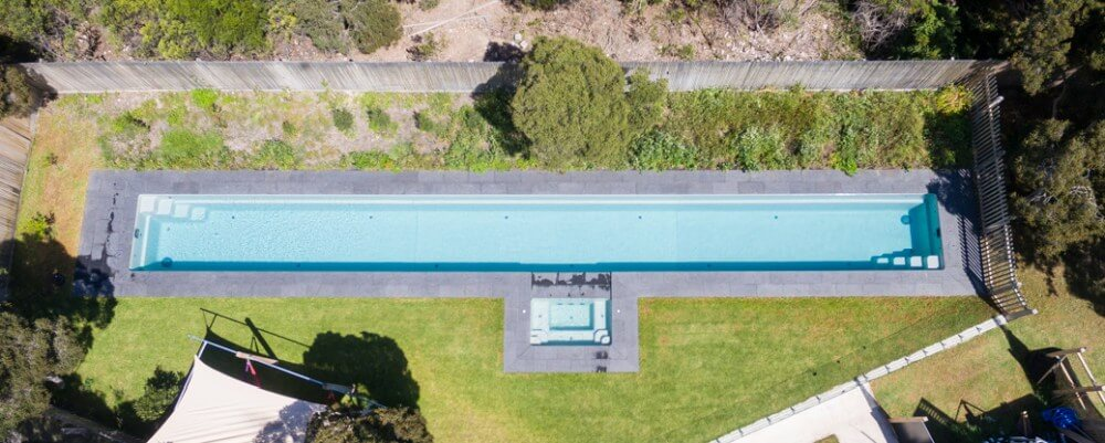Great design of the extra length Fastlane lap pool with a spa attached