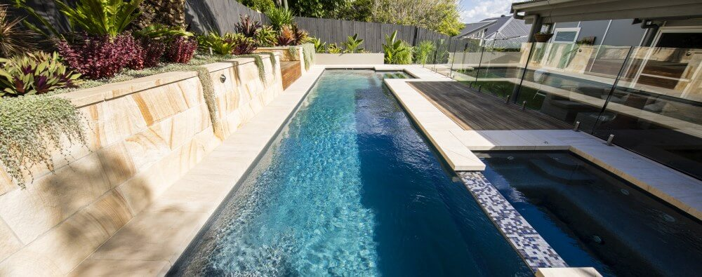 Pool and spa combo with Fastlane fibreglass lap pool