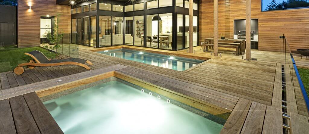 Pool & Spa combination with timber decking