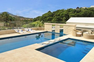 Small or large two fibreglass pools with spa jets and swim jets and fabulous views