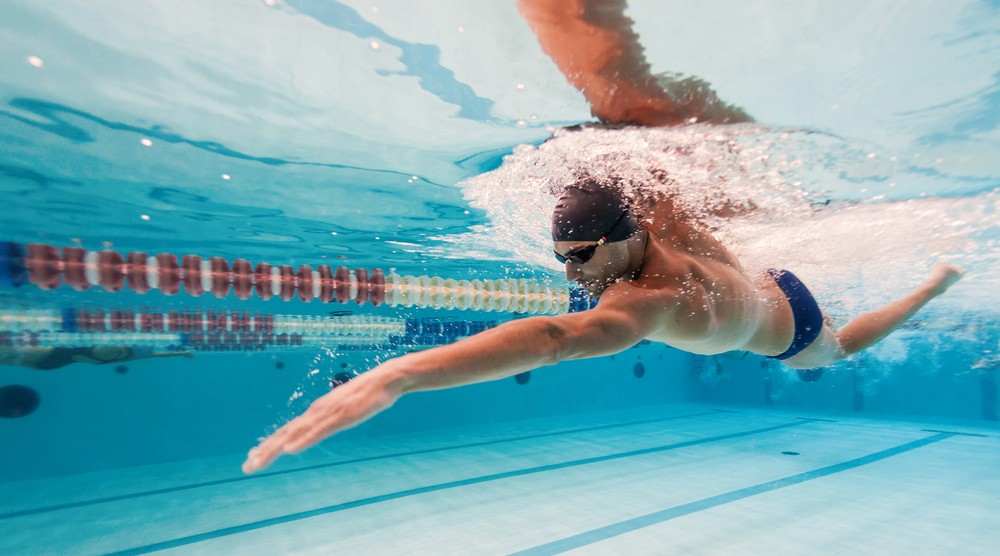 Swimmer's body is muscly