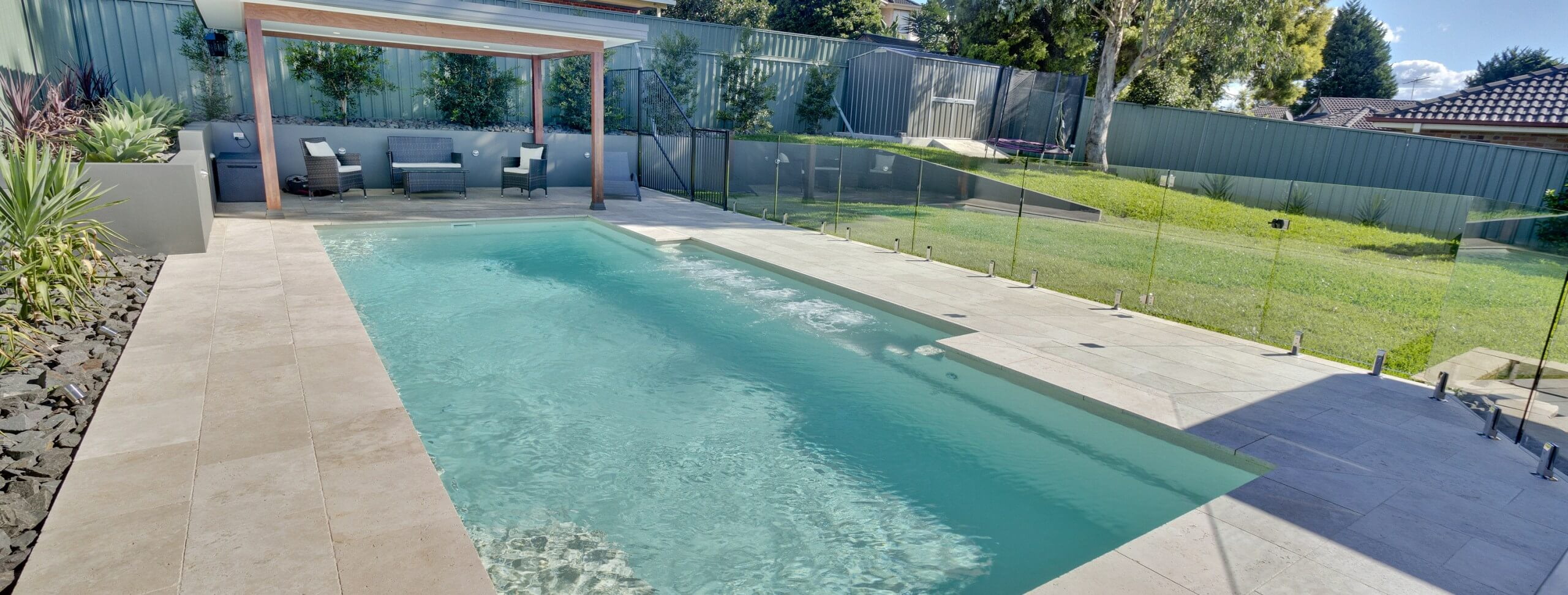 Compass Pools Australia Vogue pool with spa jets on the bench
