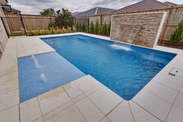 Compass Pools Australia Water wall feature and sunpod