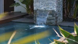 X Trainer 7 2 fibreglass pool installation in Geelong VIC - the water wall feature