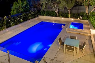 X-Trainer pool and a separate spa with glass fencing
