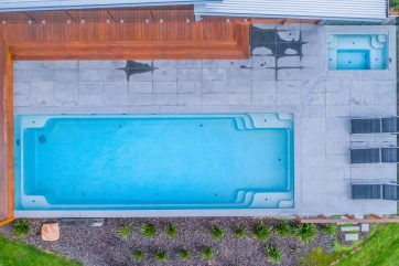 X-Trainer swimming pool with a separate fibreglass spa