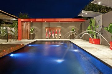 X-Trainer swimming pool with deck jets and lights on in Point Cook near Werribee Victoria