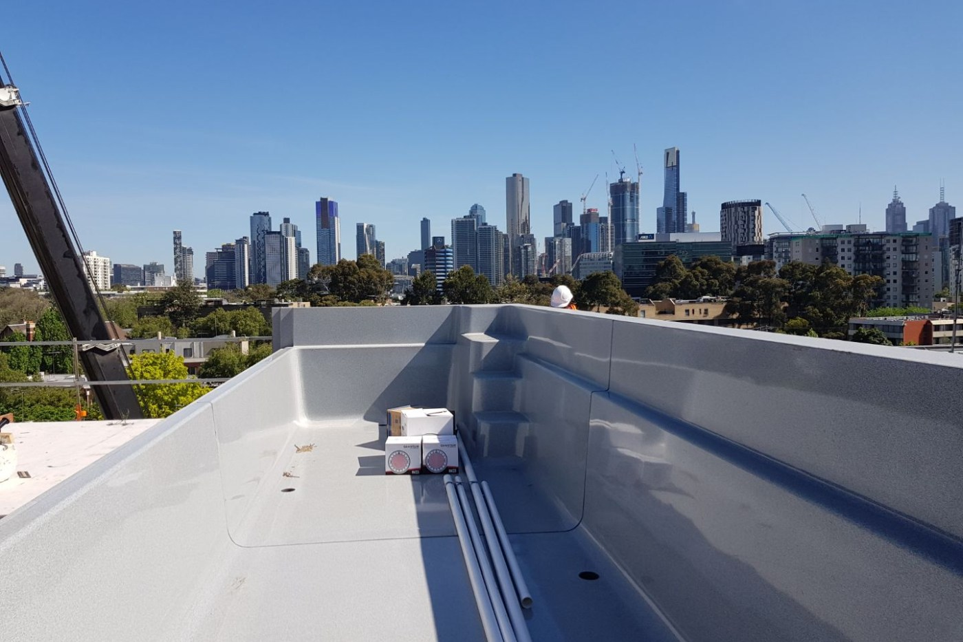 Compass Pools Melbourne 8m custom Fastlane glass wall pool South Melbourne Construction photo