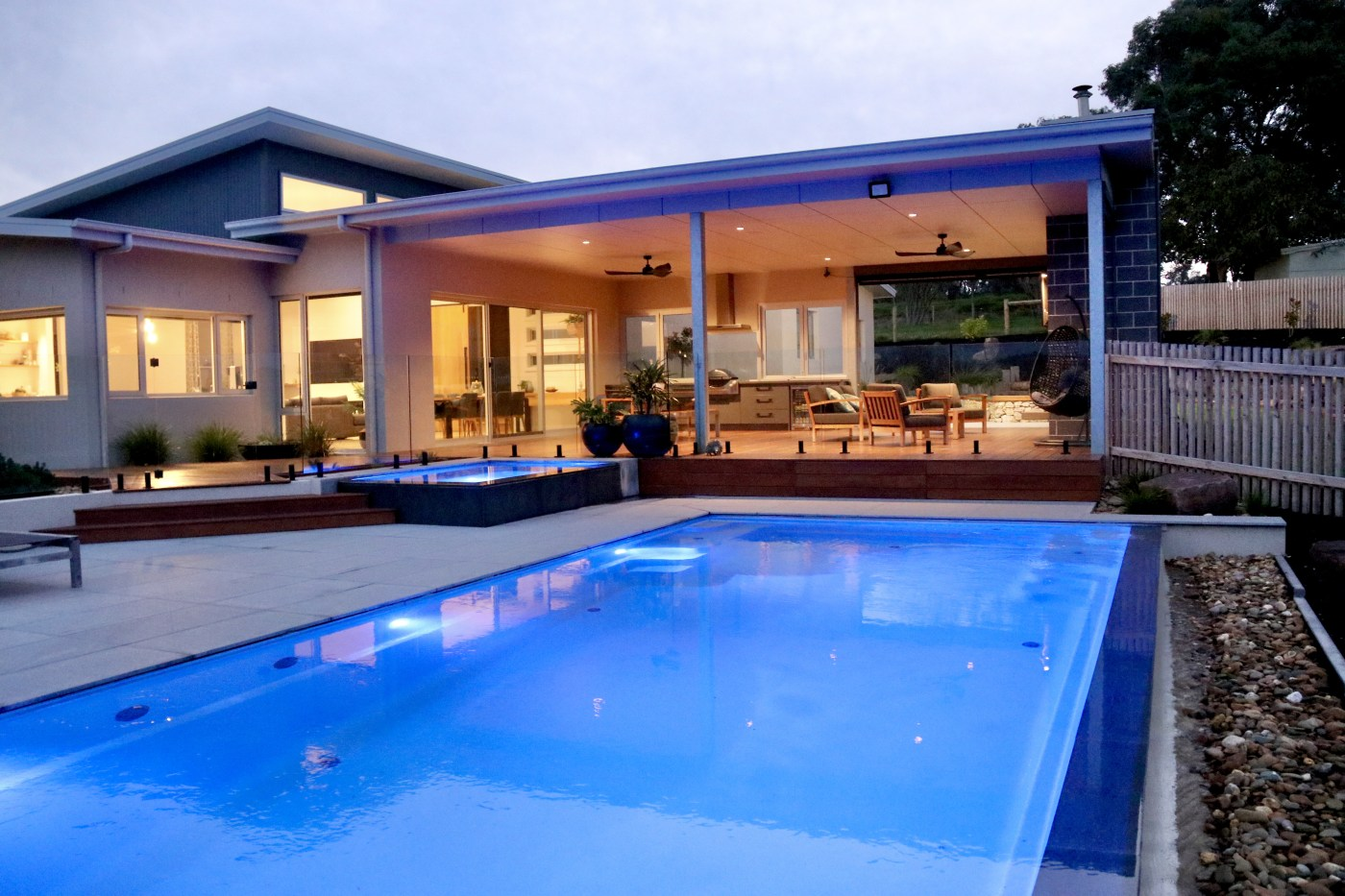 Compass Pools Melbourne Leongatha pool and spa combo Showing the house and spa