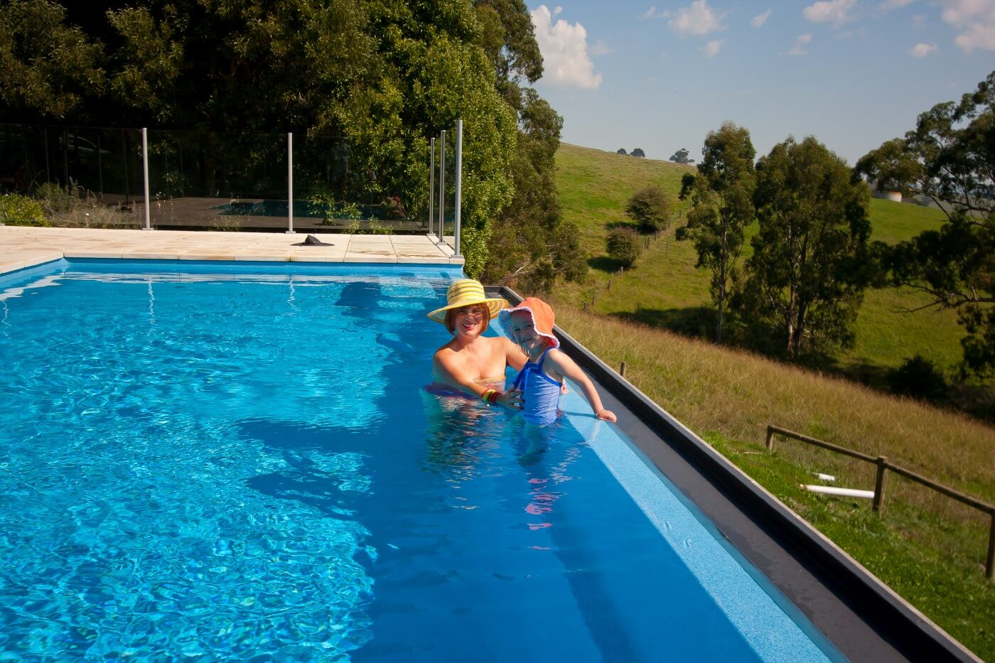 Compass fibreglass infinity pool Sapphire colour Mirboo North VIC