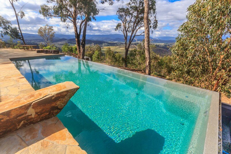Compass fibreglass pools Self cleaning infinity pool Quartz colour Christmas Hills