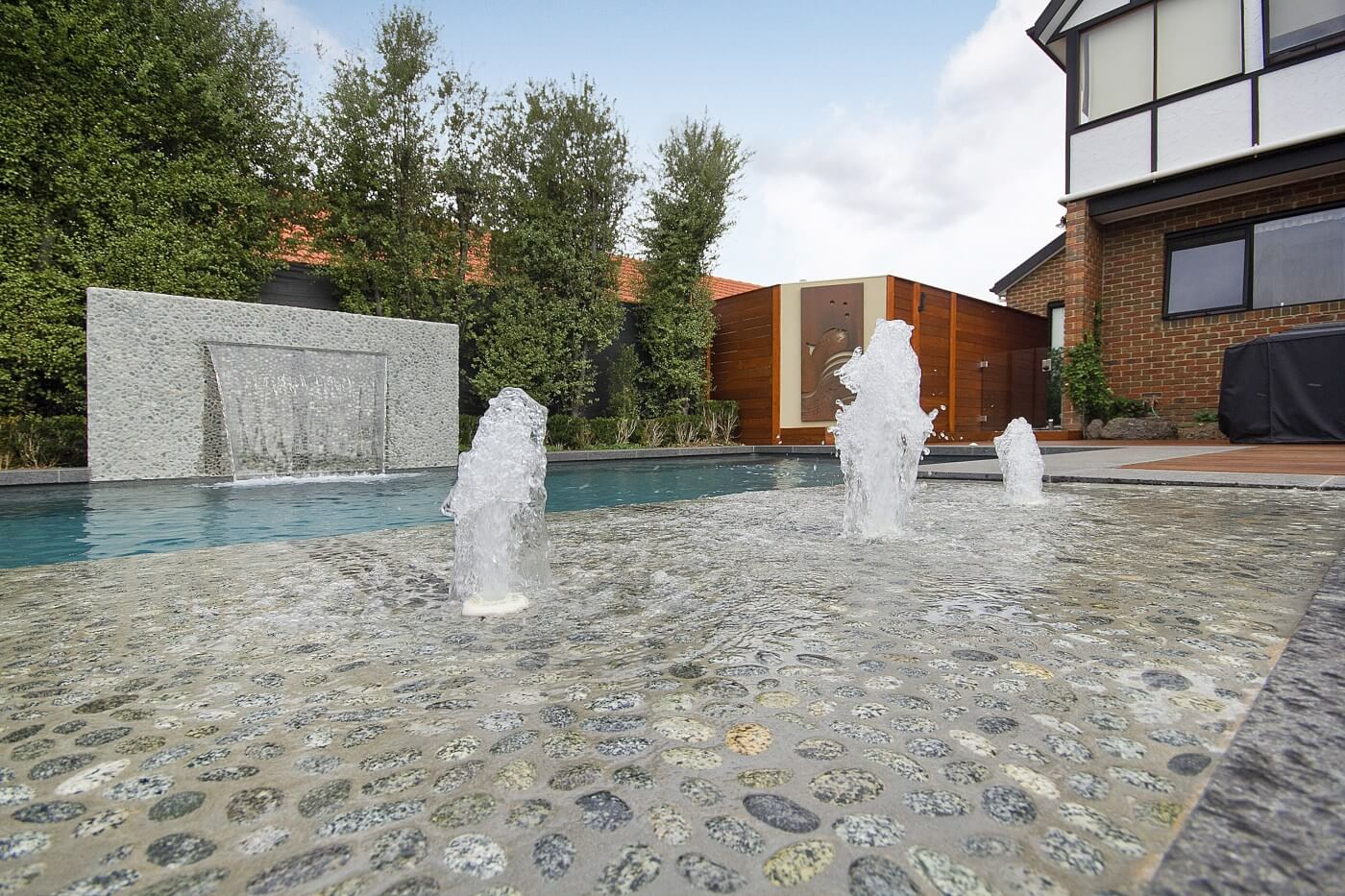 Compass fibreglass pools Self cleaning inground pool Viridian colour Boronia VIC