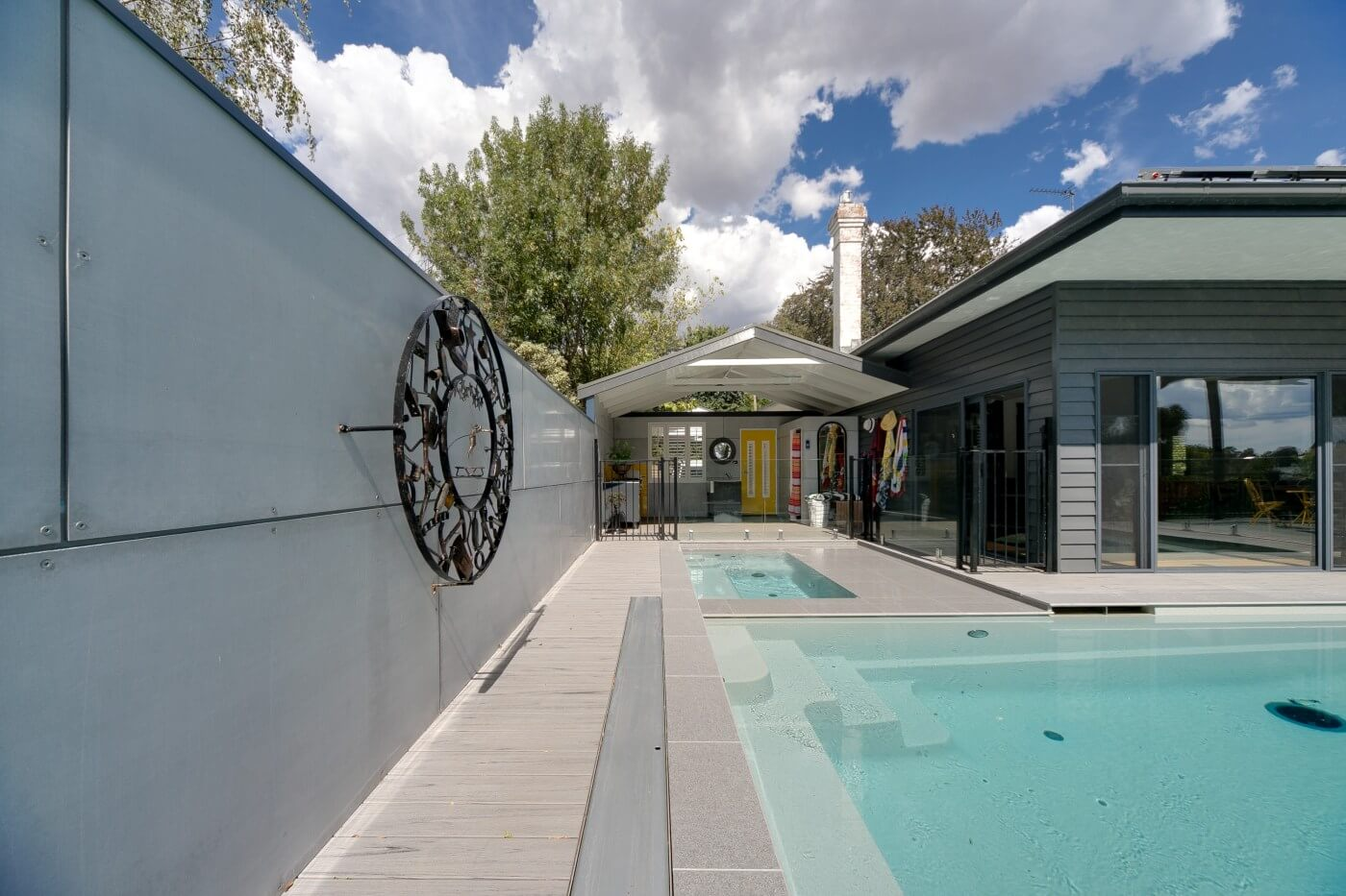 Contemporary 8.3 pool and spa combo grey marble colour Leongatha Victoria 3