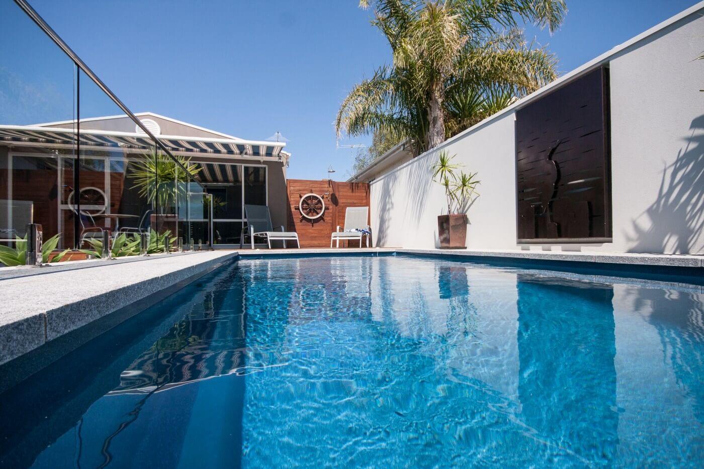Contemporary 8.3 Compass fibreglass pool Atlantic colour San Remo VIC 5