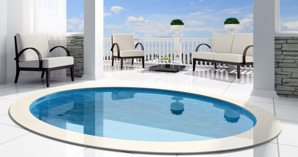 Small concrete swimming pool plunge pool