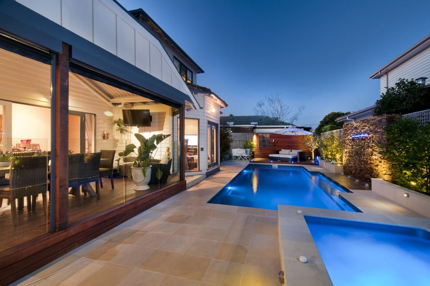 Vogue 8.2 Self cleaning fibreglass pool and spa combo Atlantic colour Carnegie VIC 1